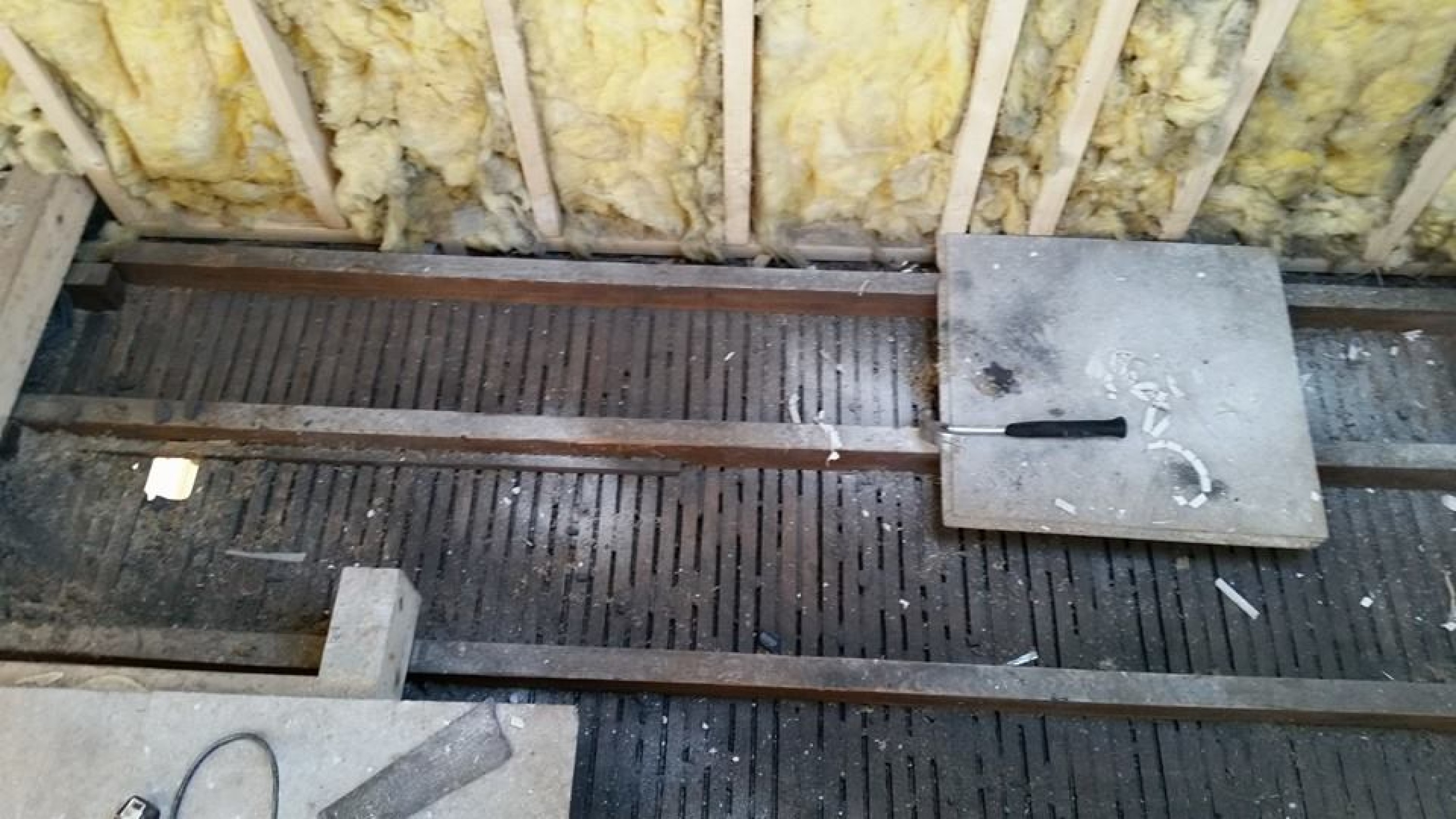 Existing lath & Plaster ceiling before being removed to form stairwell