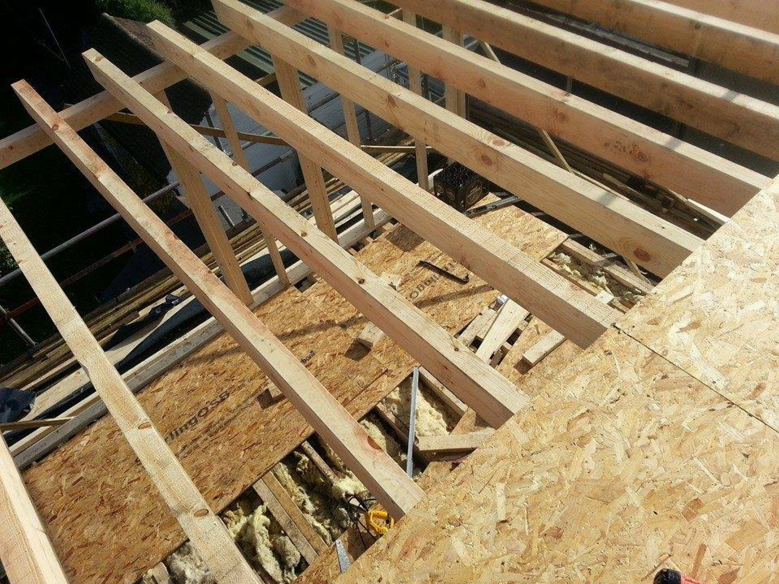 Rear dormer roof being constructed